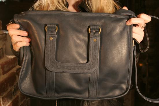 Mike and Chris Mason Leather Satchel in Navy